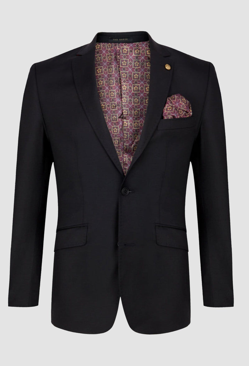 the ted baker slim fit sovereign jacket in pure wool showing the beautiful inner printed lining detail