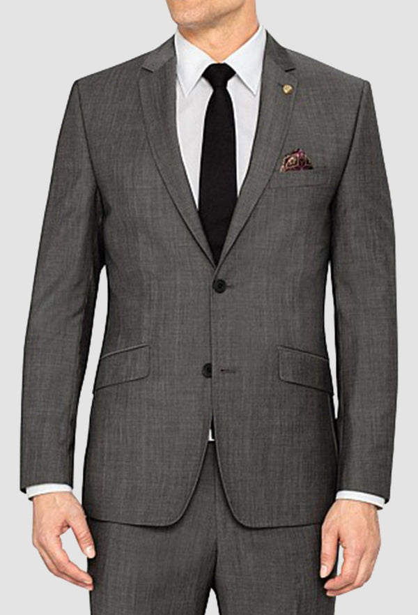 a model wears the ted baker slim fit sovereign suit in grey charcoal with a white shirt and black tie