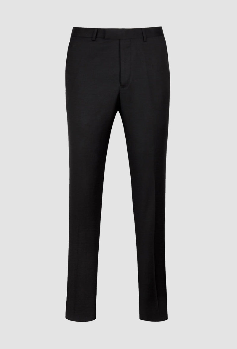 a full view of the ted baker slim fit sovereign trouser in black pure wool laying on a grey background