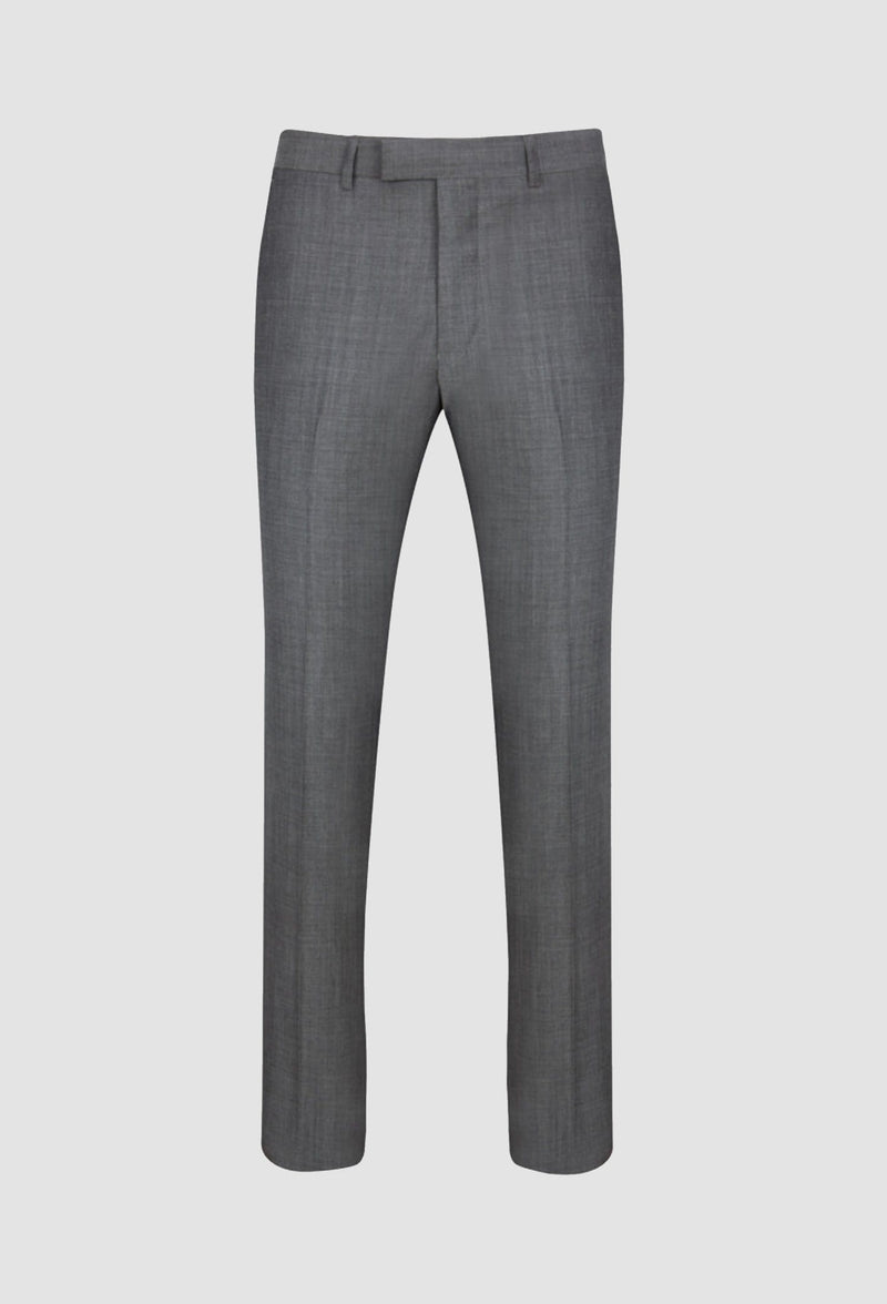 a full length view of the Ted Baker slim fit sovereign trouser in grey pure wool showing the slim fit and belt loop waistband