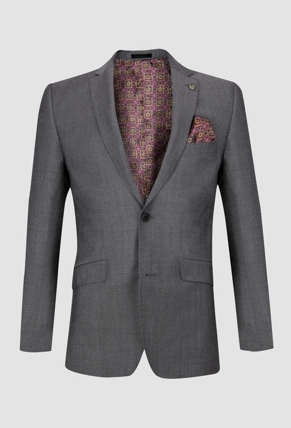 a front on view of the Ted baker slim fit sovereign suit jacket blazer in charcoal pure wool 1RL0303S