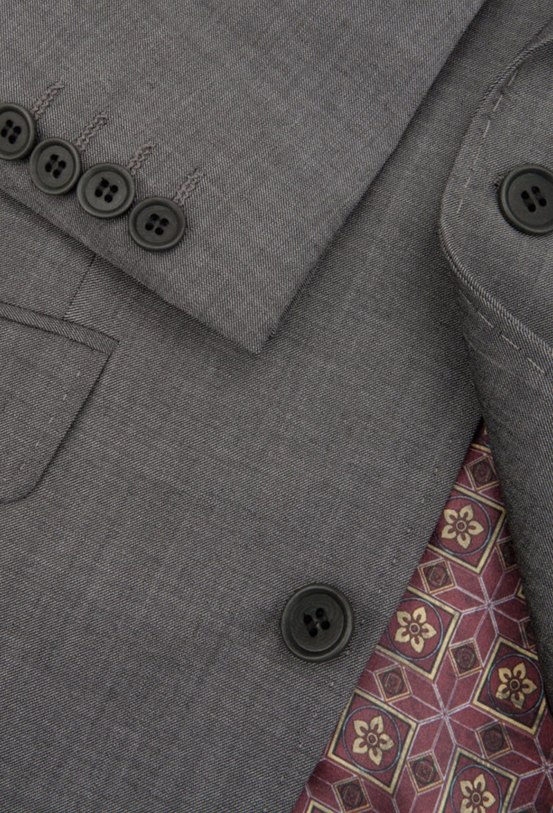 A close up view of Ted baker slim fit sovereign suit jacket blazer in charcoal pure wool 1RL0303S
