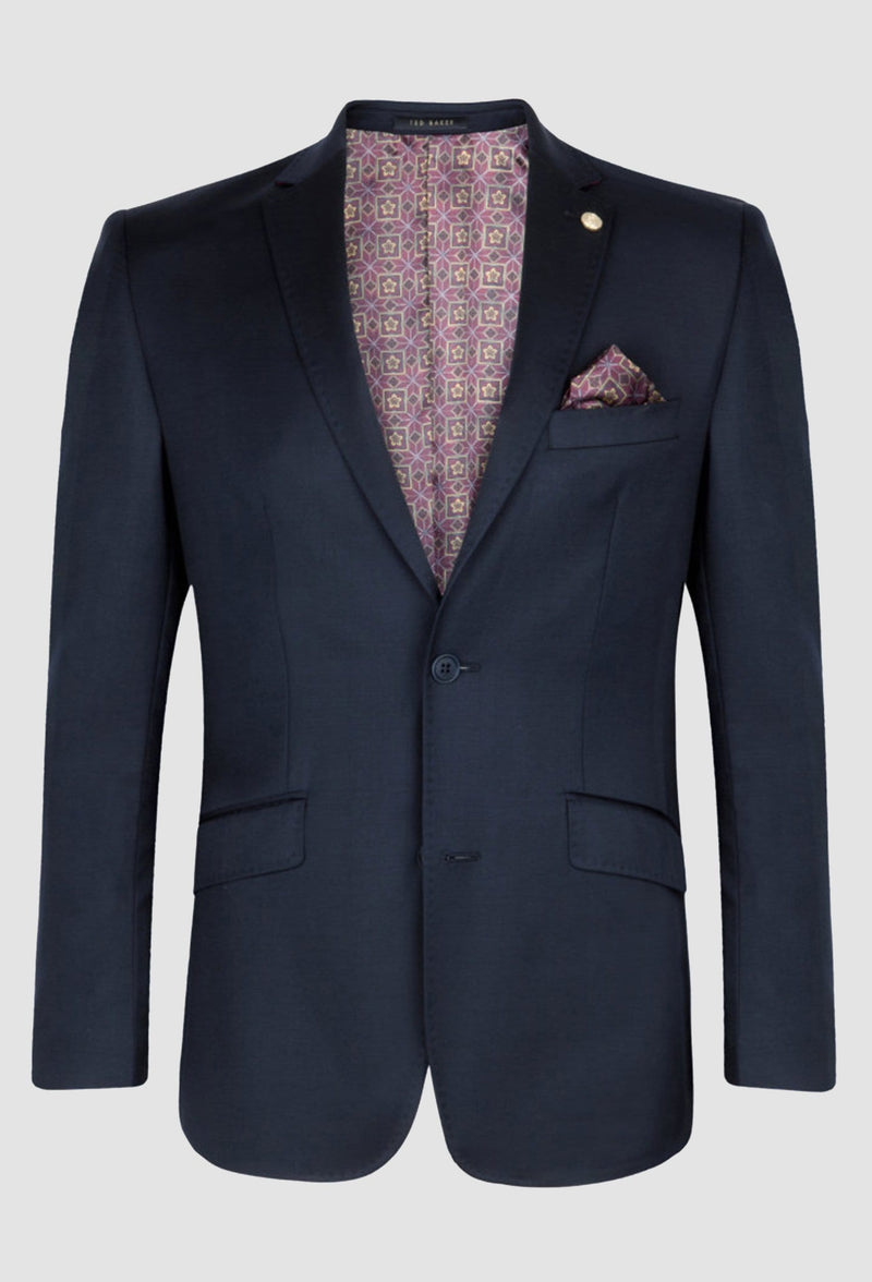 a front on view of the ted baker slim fit sovereign suit jacket blazer in navy 1RL0310