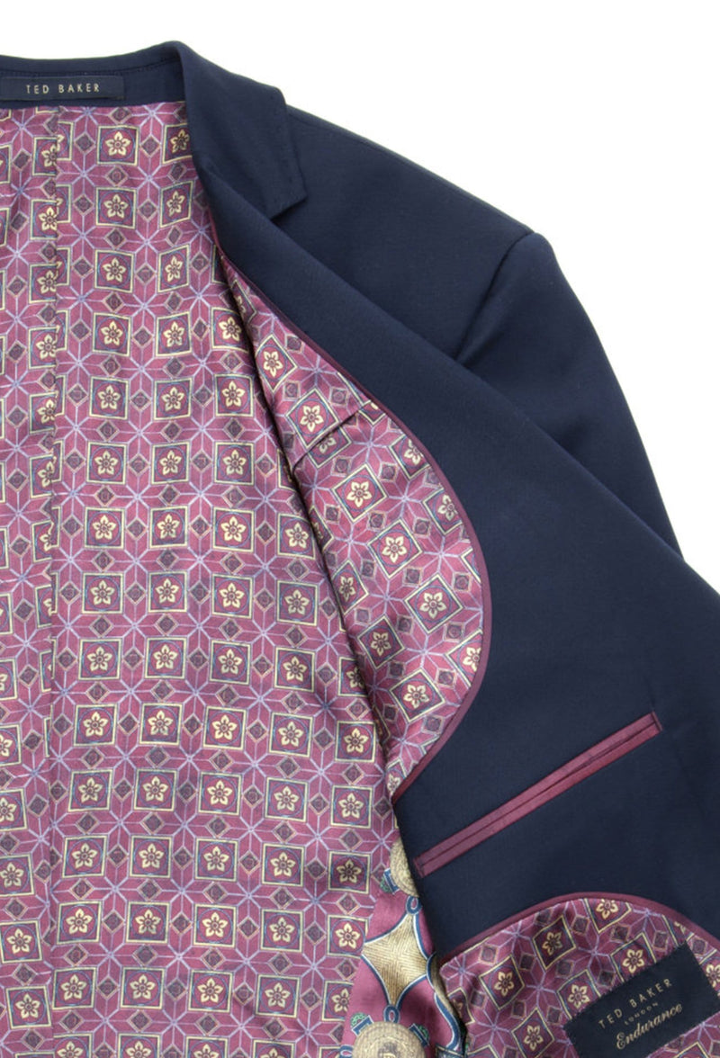 a close up view of the lining detail on the ted baker slim fit sovereign suit jacket blazer 1RL0310