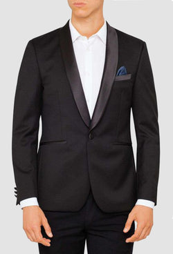 a front view of the ted baker slim fit twilite tuxedo jacket and trouser in black pure wool displaying its satin lapel, satin chest pocket and single button closure