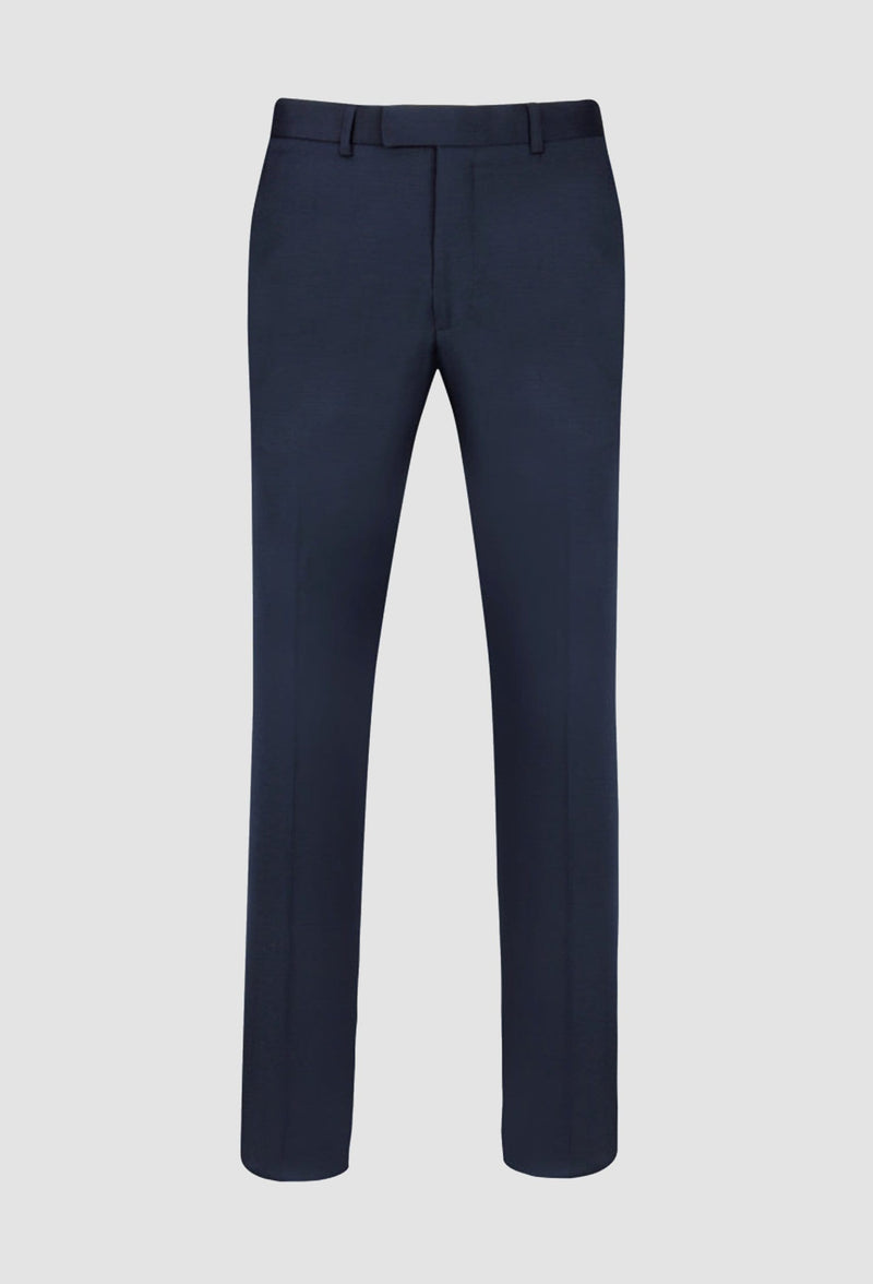 a full view of the ted baker slim fit sovereign suit trouser in navy pure wool laying on a grey background