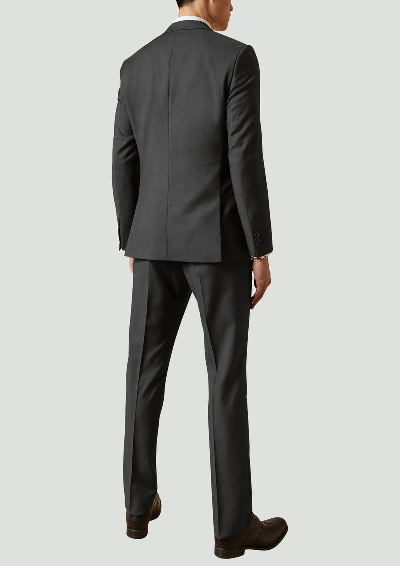 a back view of the ted baker slim fit Elegan business mens suit in Black pure wool 1RL2000.