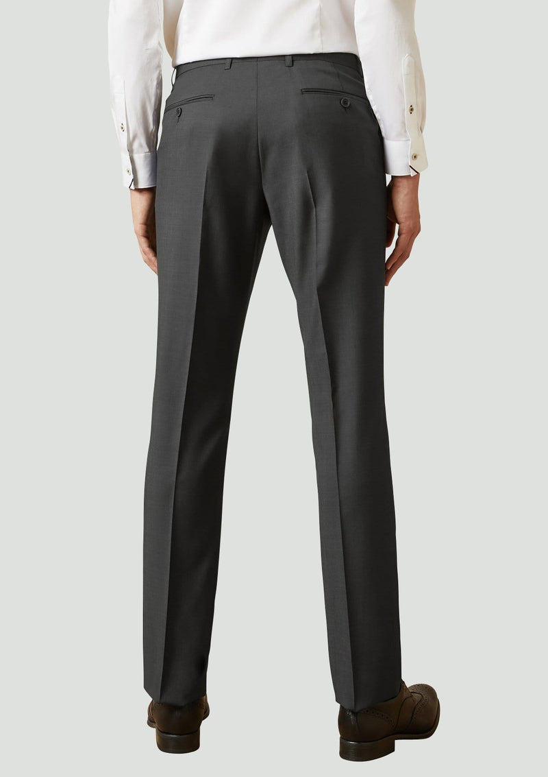 The back view of the elegan ted baker slim fit men's suit trouser in black pure wool