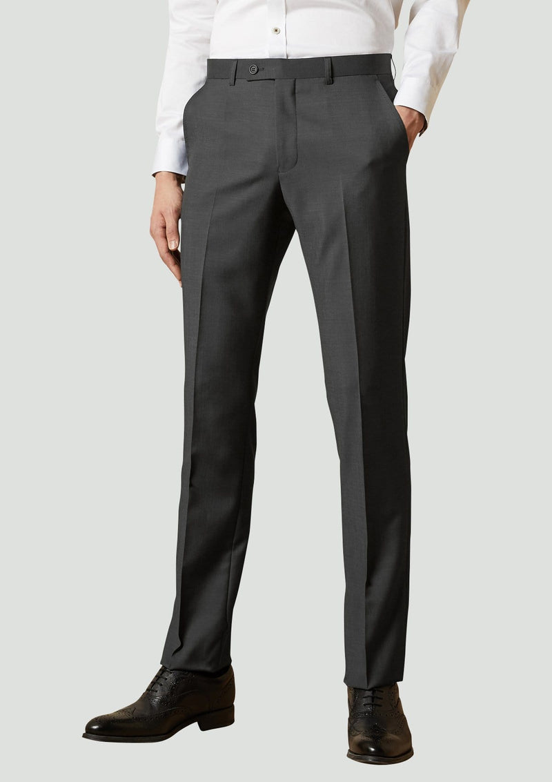a full view of the ted baker slim fit Elegan business mens suit trouser in Black pure wool 1RL2000.