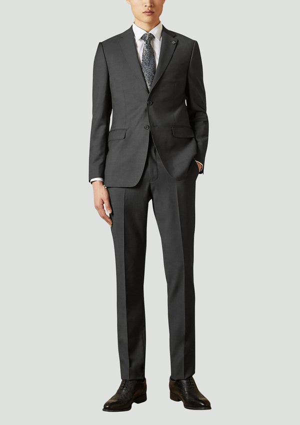 a full view of the ted baker slim fit Elegan business mens suit in Black pure wool 1RL2000.
