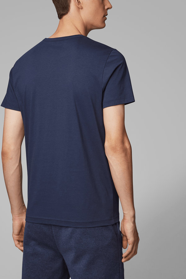 the back view of the hugo boss classic fit mens navy cotton t-shirt