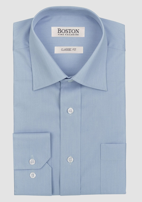 the blue brooke mens business shirt by boston folded on a grey background showing the modern collar and convertible cuff