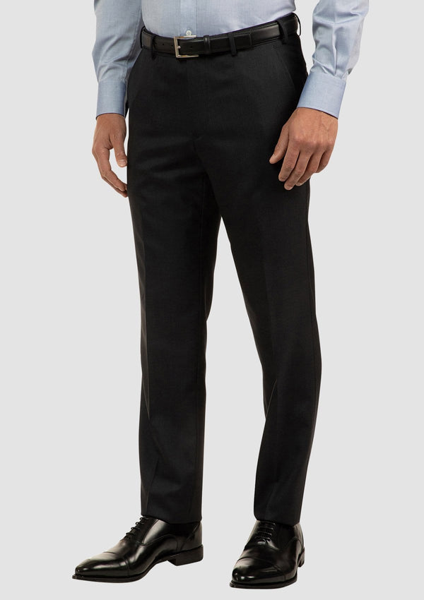 the side view of the cambridge classic fit interceptor trousers in charcoal pure wool FCI417
