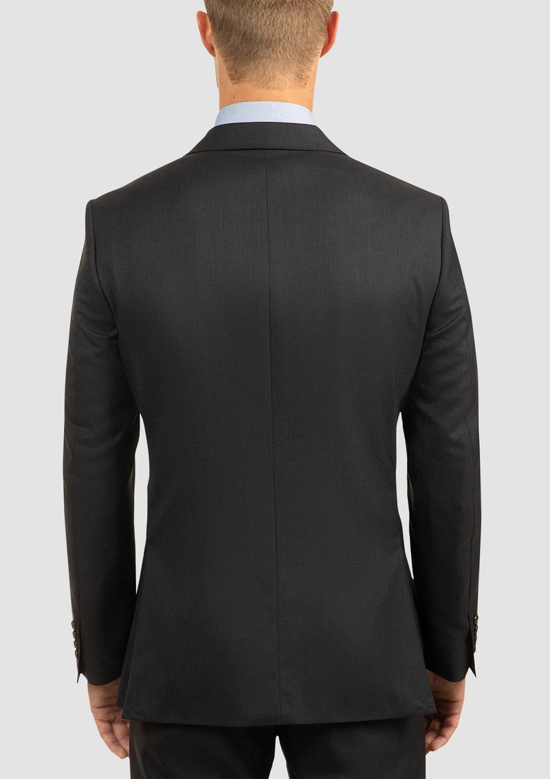 the back of the cambridge classic fit morse mens suit in charcoal pure wool