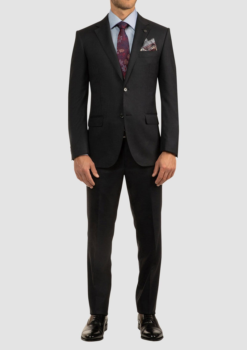 a full length view of the charcoal classic fit morse suit with a classic modern fit