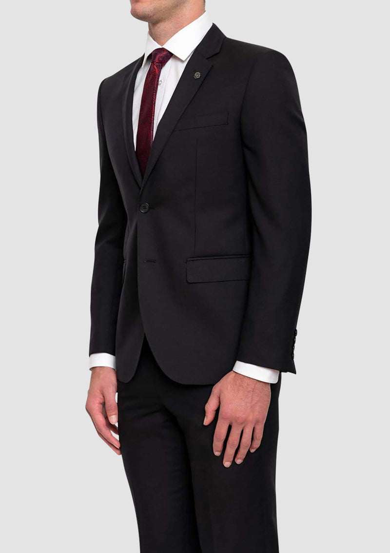 the side view of the cambridge classic fit morse suit jacket in black FMG100