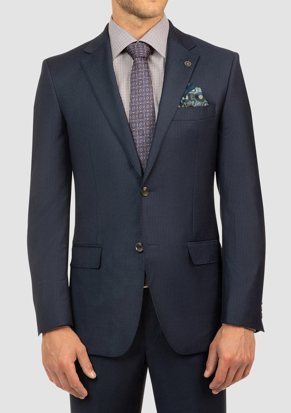 the classic fit mens morse suit by cambridge in navy pure wool with a slight pinstripe through the fabric