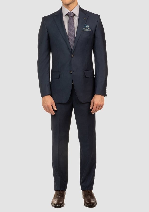 a full length view of the classic fit mens morse navy striped business suit FCJ353