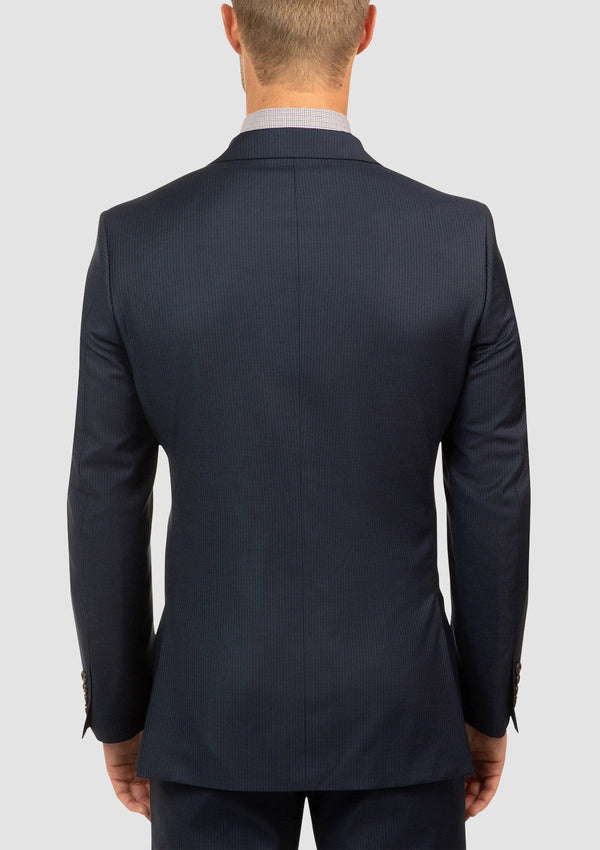 the back of the cambridge morse mens suit jacket in navy pure wool FCJ353