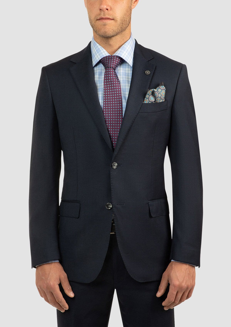 a front view of the cambridge morse suit in navy pure wool FCJ336