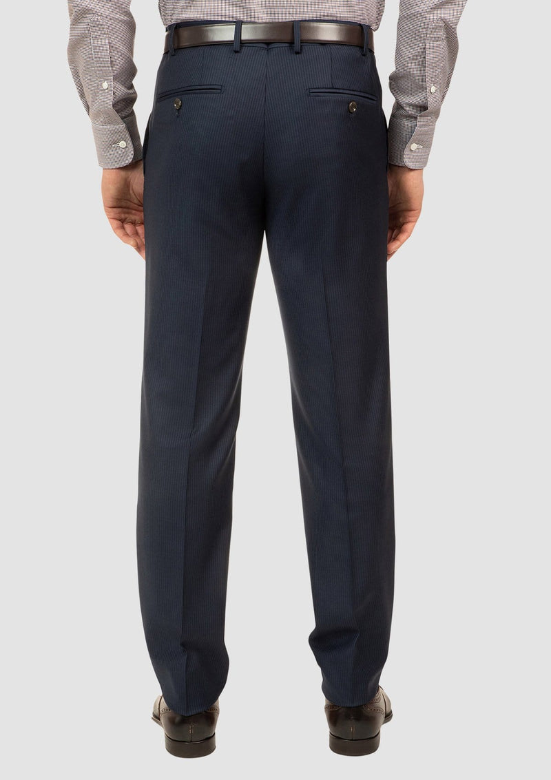 the back pocket details and tapered classic fit of the interceptor mens suit trouser FCJ353 navy