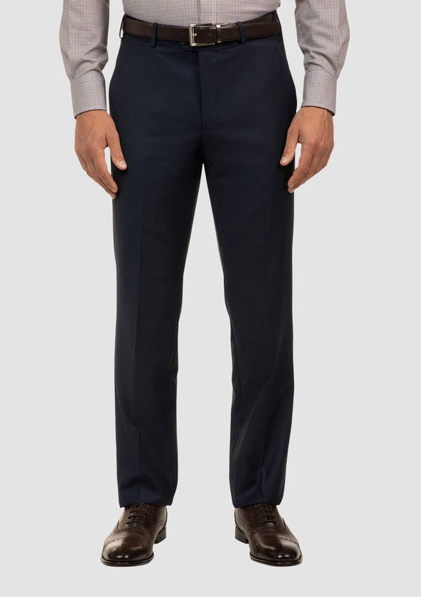 a front on view of the cambridge interceptor trouser in navy pure wool FCJ353