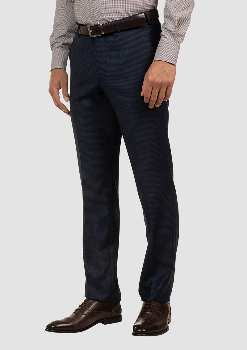 side on view of the cambridge interceptor trouser in navy pure wool FCJ353