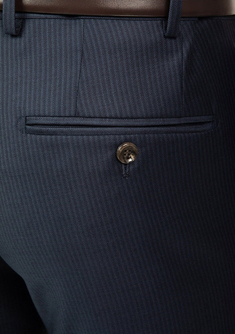 the back pocket view of the cambridge interceptor trouser in navy pure wool FCJ353