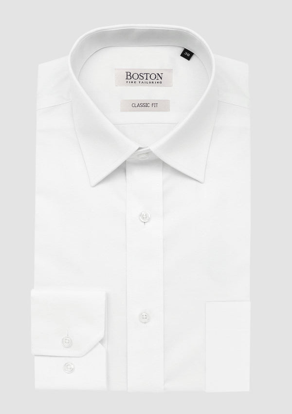 Boston classic fit brooke business shirt in white folded on a grey backgrouns