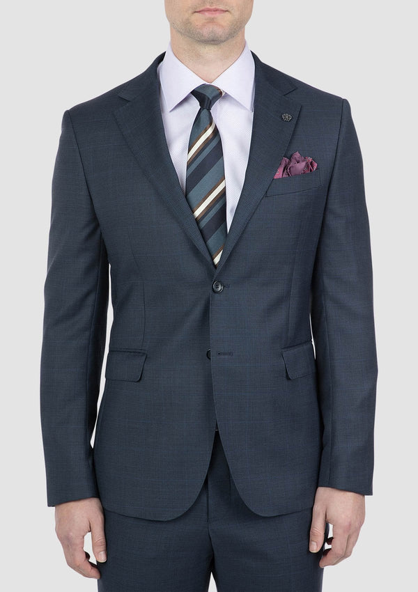 a close up of the cambridge morse mens suit jacket in navy blue FCI371