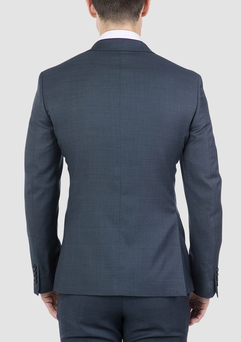 the back of the cambridge mens morse suit jacket in navy pure wool FCI371