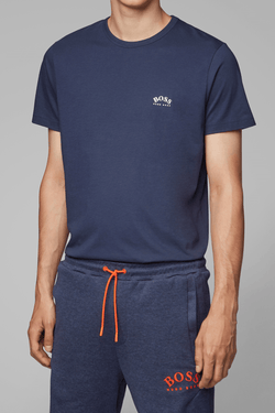 hugo boss mens navy crew neck cotton tshirt worn with a navy sweat pant, white small logo on the front