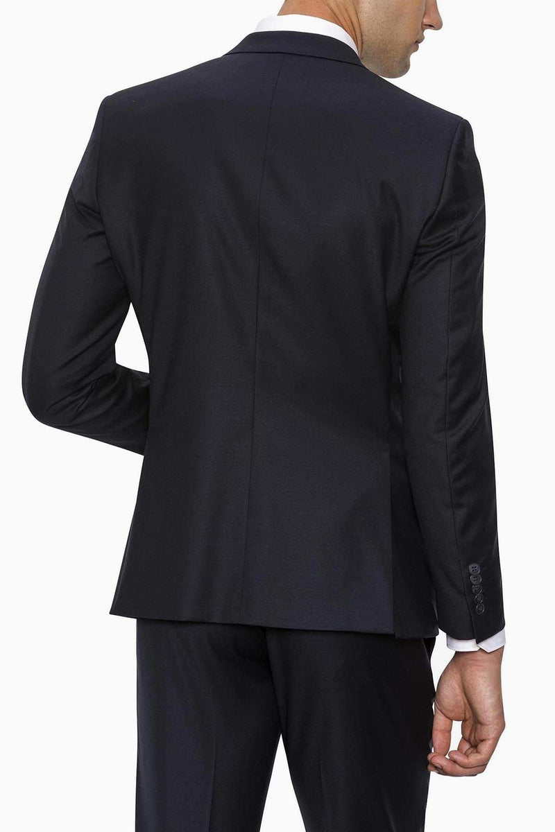 the back of the gibson slim fit breeze mens suit in navy