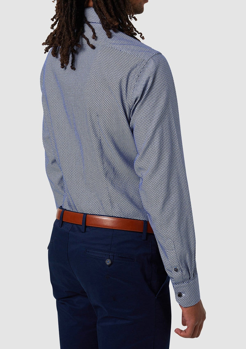 a back view of the wolf kanat slim fit mens business shirt in a blue herringbone printed pure cotton 8WKS903