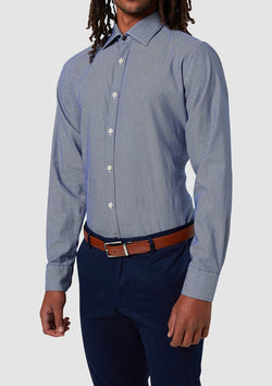 the wolf kanat slim fit romanov mens business shirt in indigo herringbone