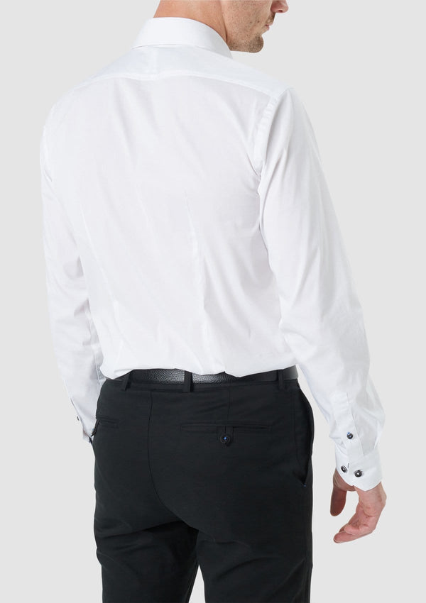 the darts at the back of the wolf kanat tailored fit herve mens business shirt in white