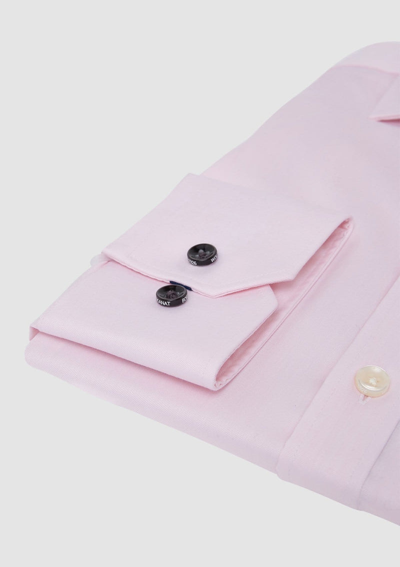 a close up of the cuff detail of the wolf kanat slim fit romanov mens business shirt