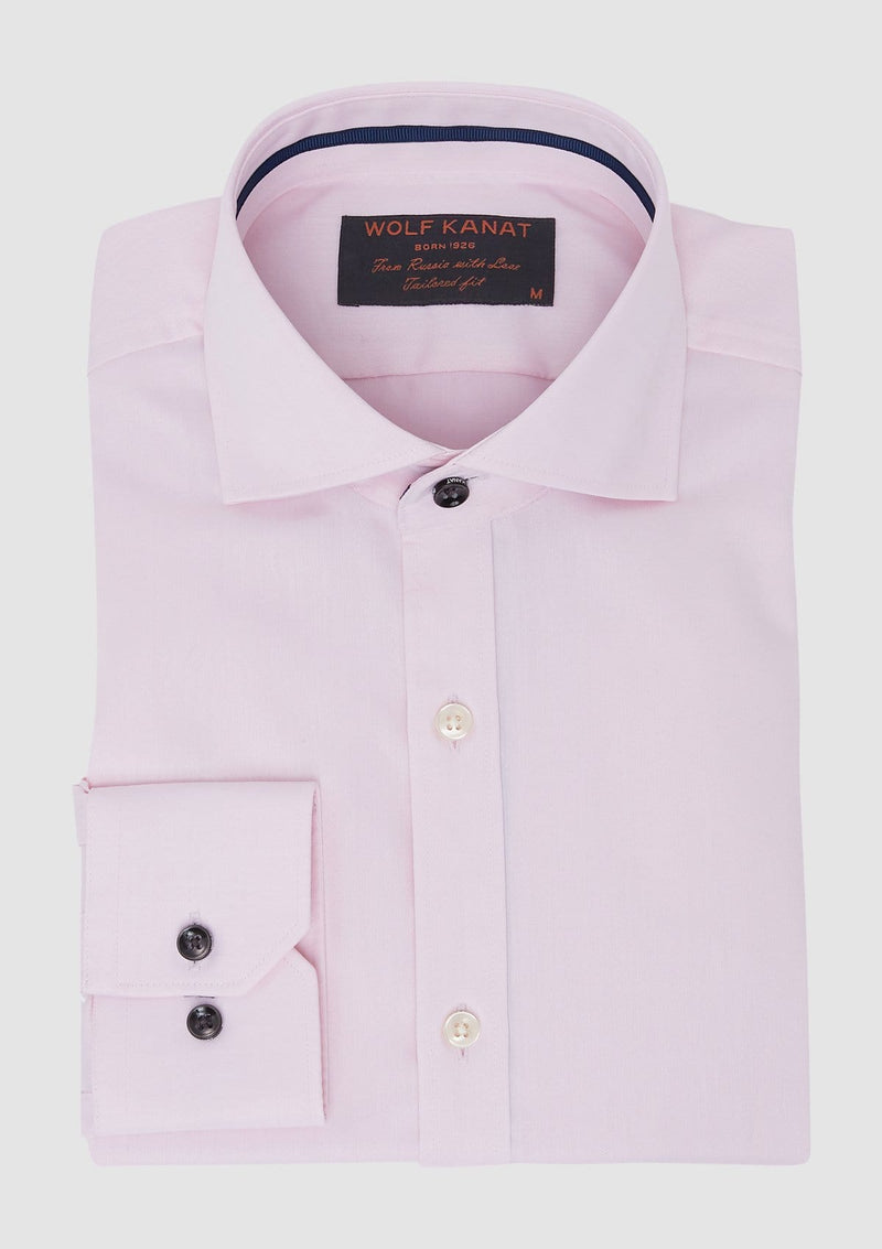the pink slim fit romanov business shirt in pink pure cotton showing the premium black button details 6WKS833