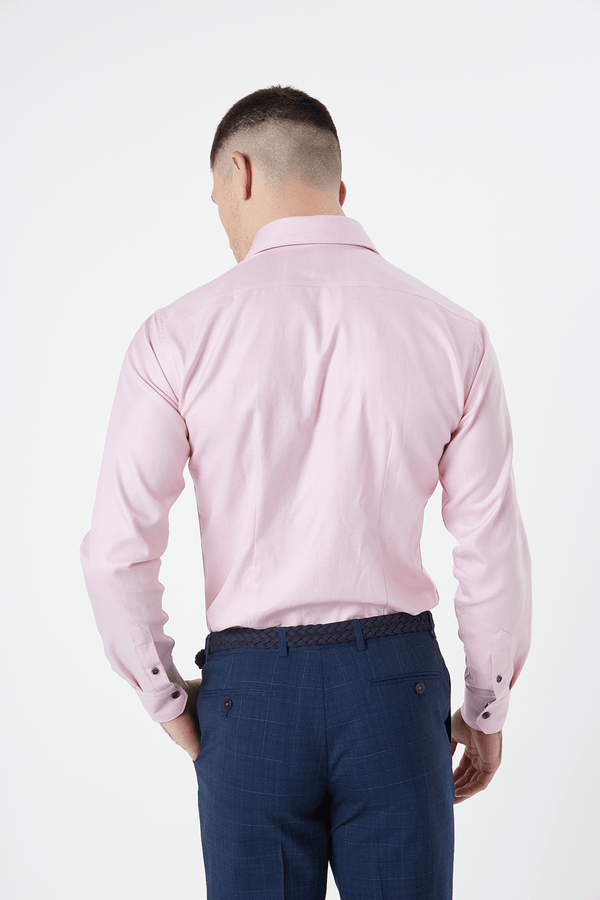 Wolf Kanat slim fit romanov shirt in pink broken cotton twill