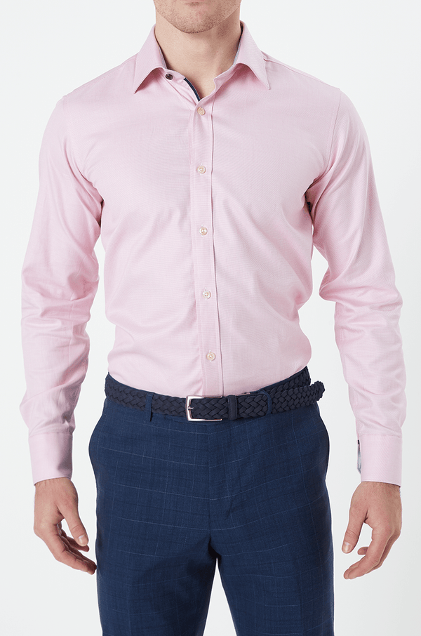 pink cotton twill mens shirt by wolf kanat 9WKS922
