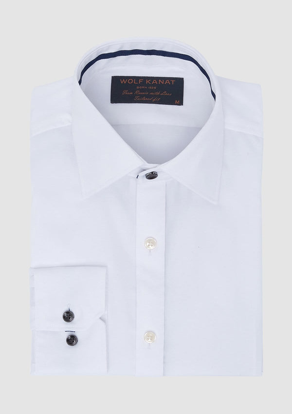 the slim fit wolf kanat romanov business shirt in white pure cotton twill