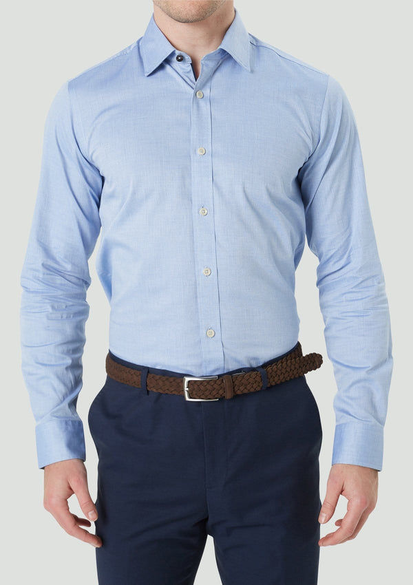 the slim fit wolf kanat romanov business shirt in blue pure cotton 9WKS921