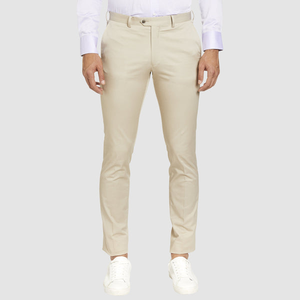 a front view of the Studio Italia slim fit chino in beige stone  cotton stretch  ST-376-81