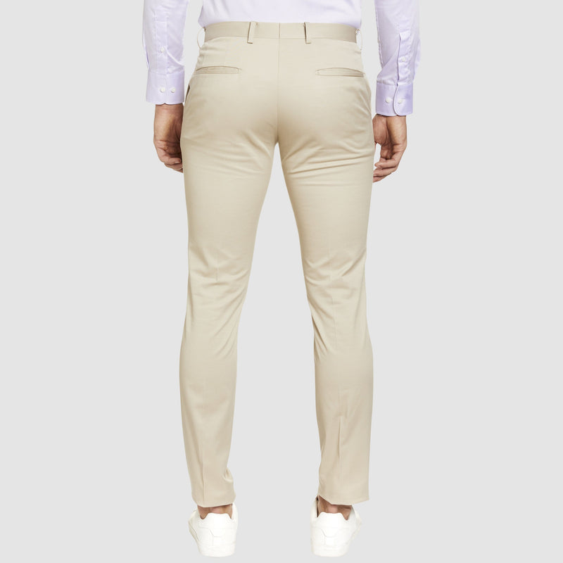 a back view of the Studio Italia slim fit chino in beige stone  cotton stretch  ST-376-81