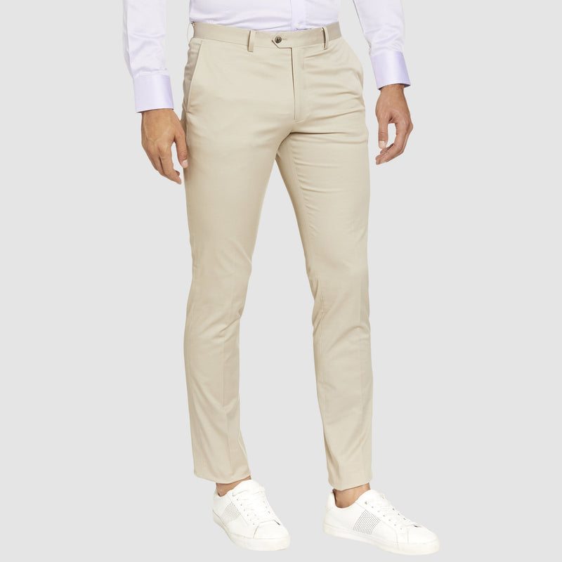 Studio Italia slim fit chino in stone cotton stretch