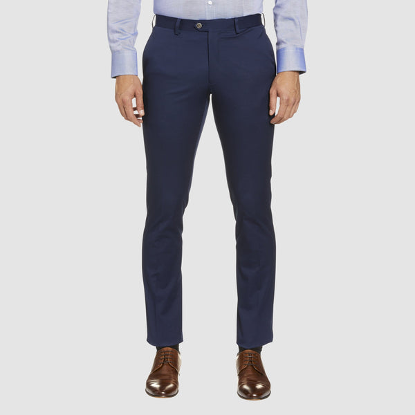 a front view of the Studio Italia slim fit chino in blue  cotton stretch  ST-376-81