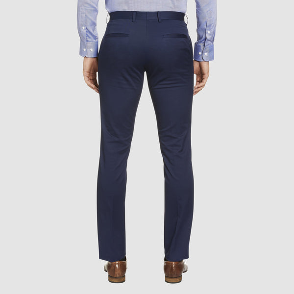 the back of the Studio Italia slim fit chino in blue cotton stretch  ST-376-81