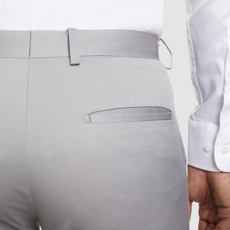a back view of the Studio Italia slim fit chino in light grey ST-410-51