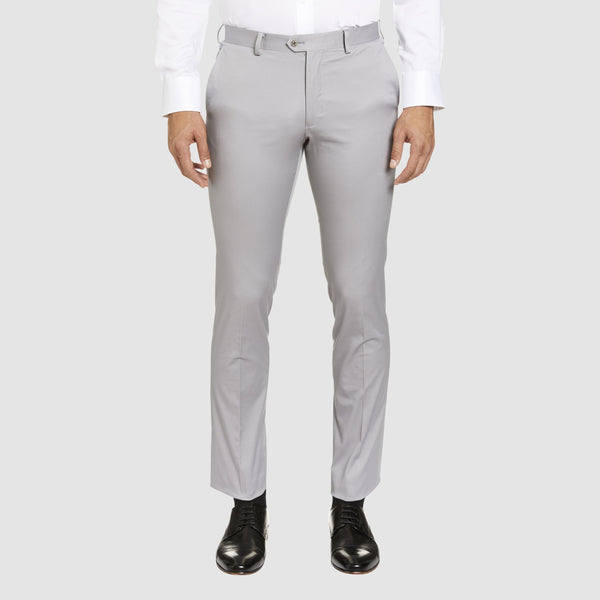a front view of the Studio Italia slim fit chino in light grey ST-410-51
