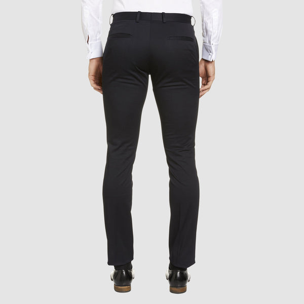 a back view of the the Studio Italia slim fit chino in navy cotton stretch  ST-373-11
